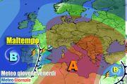 METEO Italia. Declino dell'Anticiclone. MALTEMPO nel weekend, rischio nubifragi